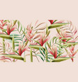 bird paradise flower and tropical leaves vector image vector image
