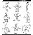 black and white funny businessmen characters set vector image vector image
