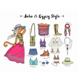 Bohemian fashion style set boho and gypsy vector image