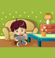 boy using a tablet pc vector image vector image