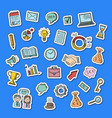 business doodle icons stickers set vector image