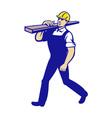 Carpenter Tradesman Carrying Timber Lumber vector image vector image