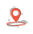 cartoon pin location icon in comic style vector image vector image