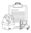 checklist with lift truck in black and white vector image
