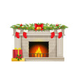 christmas fireplace and socks for gifts on chimney vector image