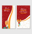 christmas greeting cards templates set vector image