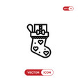 christmas sock icon vector image vector image