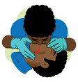 clearing breathing mouth-to-mouth afro man vector image vector image