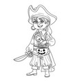 cute boy in pirate costume with a pumpkin bag vector image vector image