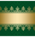 dark green background with golden decor vector image vector image