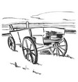 drawing old cart landscape sketch fields and vector image