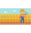 Farmer with pitchfork vector image vector image