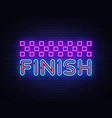 finish neon sign finish design template vector image