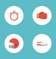 flat icons shoes second meter rugby and other vector image vector image
