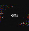 glitch game retro gaming background tv screen vector image