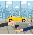 hand gives car keys to another hand vector image