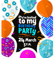 happy birthday party card with colorful patterned vector image vector image