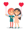 happy couple sincerely smiling hold balloon vector image