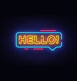 hello neon text hello neon sign design vector image vector image
