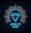 jewelry shop neon sign diamond icon neon banner vector image vector image
