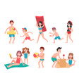 kids playing at beach summer holiday vacation vector image