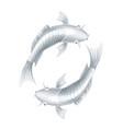 Koi carps realistic fish eastern symbol