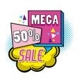 mega sale pop art poster vector image