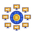 mining pool bitcoin or cryptocurrency online vector image vector image