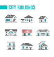 nine low-storey city buildings set of icons vector image vector image