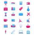 Pink blue business icons set vector image vector image