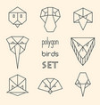 polygon birds set on beige background vector image vector image