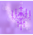 Purple background with chandelier vector image