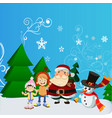 santa claus with kid in christmas snow scene vector image vector image