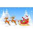 santa on sleigh with deer 1 vector image