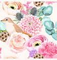 seamless pattern with pink and white flowers vector image vector image
