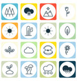 set of 16 landscape icons includes rain forest vector image vector image