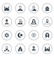 set simple faith icons elements catholic vector image vector image
