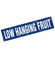 square grunge blue low hanging fruit stamp vector image vector image