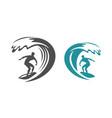 surfing symbol surf emblem vector image vector image