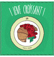 top view on croissant with syrup of red berries vector image