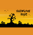tree and pumpkin scenery silhouette for halloween vector image vector image