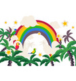 tropical paradise rainbow palm parrot isolated vector image