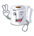 two finger character toilet paper rolled on wall vector image vector image