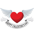 Valentine Heart with wings isolated on white vector image vector image