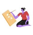 woman painting on canvas sitting isolated female vector image vector image