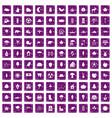 100 leaf icons set grunge purple vector image vector image