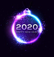 2020 happy new year background celebrate neon sign vector image