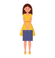 a beautiful girl in yellow walks with a shopping vector image vector image
