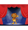 A lion singing at the center of the stage vector image vector image