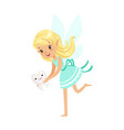 beautiful sweet blonde tooth fairy girl holding vector image vector image